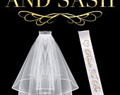 Bachelorette Party Wedding Veil and White Gold Bride To Be Sash, Also Perfect for Bridal Showers or as a Bridal Veil for Your Wedding