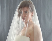 French Silk Tulle Drop Wedding Veil with Cut Edge, Silk Circular Bridal Veil