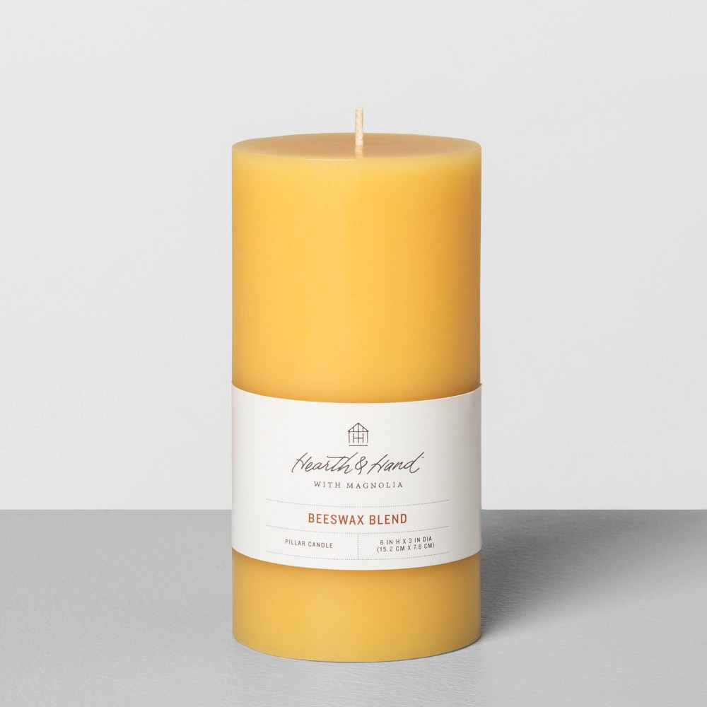 "3""x6"" Beeswax Pillar Candle - Hearth & Hand with Magnolia, Size: 3x6, Yellow"