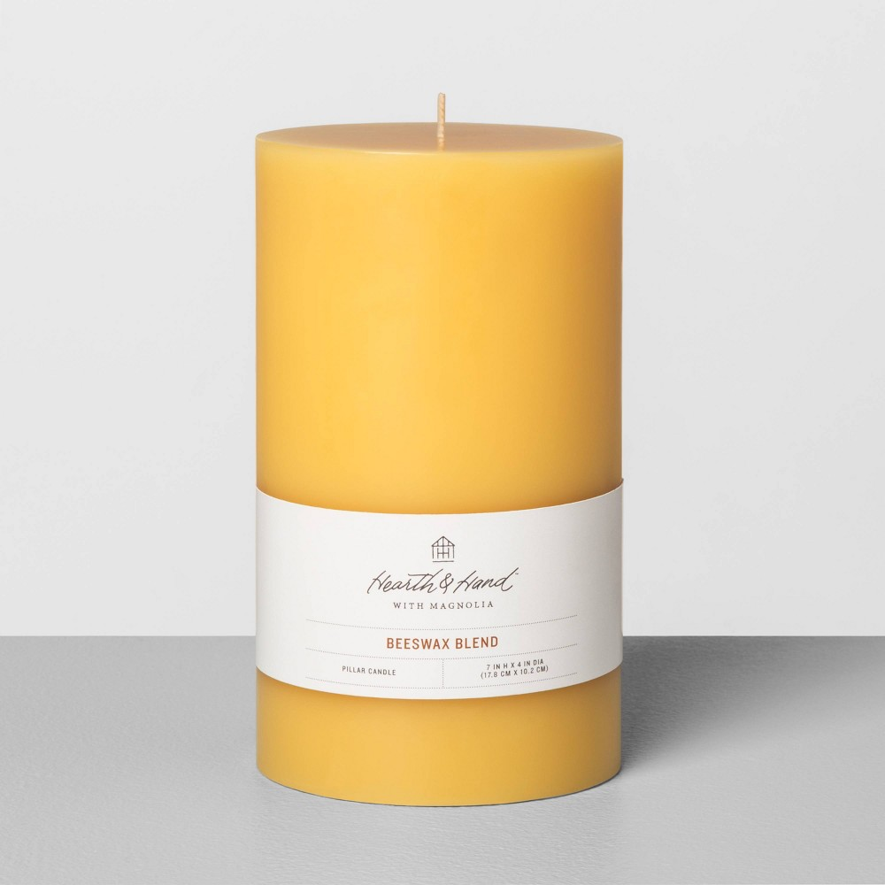 "4""x7""Beeswax Pillar Candle - Hearth & Hand with Magnolia, Size: 4x7, Yellow"