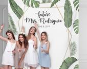 Bridal Shower Backdrop, Future Mrs Banner, Personalized Wedding Backdrop, Banana Leaf Green Bridal Shower Banner, Palm Leaf / WA107TP AA3