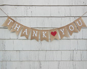 Thank You Burlap Banner, Thank You bunting, Thank You Garland, Burlap, Wedding Decor, Shower Decor, Photo Prop, Burlap, Rustic Country Barn