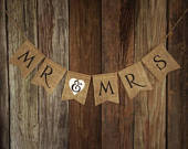 Burlap Wedding Banner, MR MRS, Mr and Mrs Banner, Photo Prop, Wedding Decoration, Engagement Banner, Rustic Wedding, Barn Style Wedding