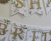 Bridal Banner, Bridal Shower Banner Wedding Banner, Bridal Shower Decorations, Green and Gold, Green Foliage Gold Banner, Botanical Theme