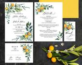 Citrus Wedding Invitation Template Download, Fruit and Flowers Invite Printable Set, Clementine, Kumquat Leaves, Summer Botanical, CIT01
