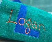 Personalized Embroidered towel, beach towel, boy party gift, blue towel, summer camp, summer gift, pool