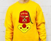 90s Shriners Gold Crewneck Sweatshirt / Mens Womens Vintage 80s Graphic Orak Pullover