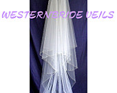 2 TIER Wedding bridal veil CHAPEL Veill and blusher with pearls beaded edge White , Ivory and Diamond white available
