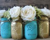 SALE!!! Set of 4 Pint Mason Jars, Ball jars, Painted Mason Jars, Flower Vases, Rustic Wedding Centerpieces, Gold and Turquoise Mason Jars