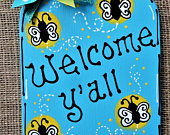Welcome Yall FIREFLY MASON JAR Fireflies Sign Hanging Door Family Wall Art Home Handcrafted Hand Painted Wreath Embellishment Wood Wooden