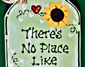 Theres No Place Like Home MASON JAR Sign Hanging Door Family Wall Art Home Handcrafted Hand Painted Wreath Embellishment Wood Wooden