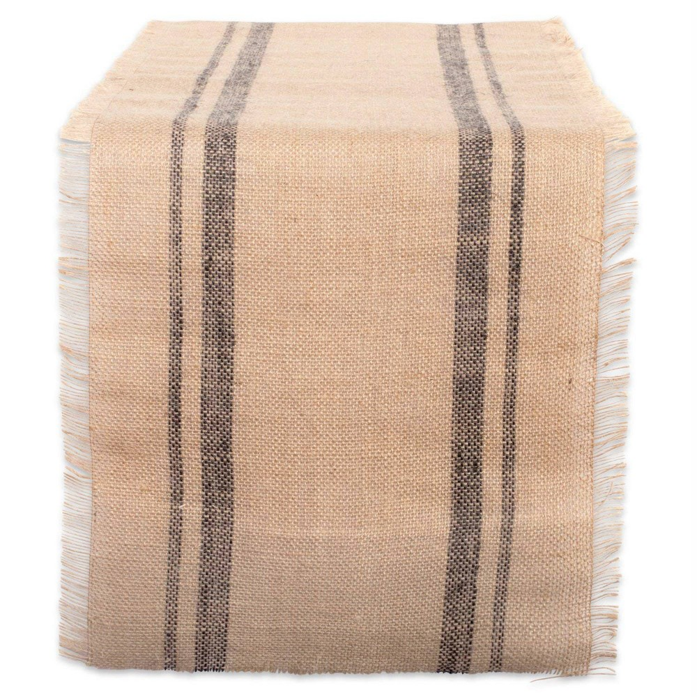 "108"" x 14"" Jute Double Border Burlap Table Runner - Design Imports, Size: 108"", Gray"