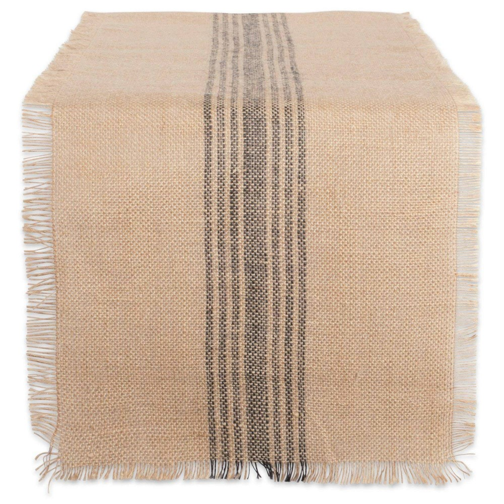 "108"" x 14"" Jute Middle Stripe Burlap Table Runner - Design Imports, Size: 108"", Beige Gray"