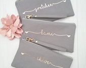 Personalized Wristlet Clutch Personalized Bridesmaid Clutch Hearts Wristlet Clutch Personalized Canvas Bag Personalized Name Clutch