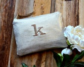 Bridesmaid Gift Idea for Her Metallic Linen Personalized Monogram Clutch Set Purse Custom Rustic Beach Shabby Wedding Pouch Makeup Bag