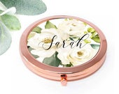 Bridesmaid gift, Personalized Compact Pocket Mirror, Bridesmaid Gift, Maid of Honor Bridal Bachelorette party Proposal, Wedding favor M077