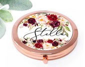 Bridesmaid Gift, Personalized Compact Mirror, Maid of Honor Bridal Party Proposal Gift, Birthday, Wedding favor for her, Pocket Mirror M012