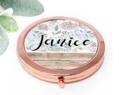 Bridesmaid Gift, Personalized Compact Mirror, Maid of Honor Bridal Party Proposal Mom Birthday Teacher Grandmother Women Wedding favor M058