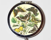 Butterfly Compact Mirror Butterflies Whimsical Insect Make Up Pocket Mirror for Cosmetics