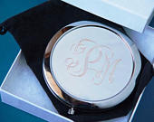lot of 5 personalized compact mirror bridesmaid gift graduation gift free custom engraving custom presents compact mirror custom engraving