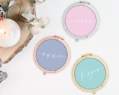 Bridesmaid gift, Personalized Compact Pocket Mirror, Bridesmaid Gift, Maid of Honor Bridal Bachelorette party Proposal, Wedding favor M037