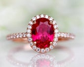 Oval Ruby Ring 14K Rose Gold Vermeil Ring Engagement Promise Ring Wedding Ring Set July Birthstone Red Gemstone Anniversary Gift For Her