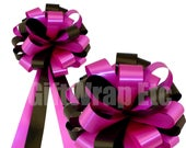 Black and Hot Pink Fuchsia Pull Bows 8 Wide, Set of 6, Valentines Day, Wedding Pew Bows, Reception, Valentines Day, Birthday, Gift Bows