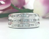 0.70CTW 3 Rows Diamond Wedding Band Channel Set in 14K White Gold (Unisex)