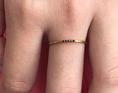 5 Stones Black Diamonds Ring, 1mm 14K Solid Gold Stacking Ring, Thin Dainty Ring, Delicate Five Diamonds Band