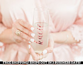 Bridesmaid Champagne Flute Bachelorette Party Favors Housewarming Gift Wedding Gift Party Flute Personalized