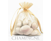 10 Champagne Organza Bags, 5 x 8 Inch Sheer Fabric Light Gold Favor Bags