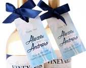 Watercolor Palms Wedding Tags Wine Bottle Tags, Favor Box Tags, Bag Tags Personalized Wedding Favor Tags Hanging Tags