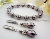 Pearl Bracelet and Earrings Bridal Jewelry Set Mauve Wedding Jewelry Mother of the Bride Gift for Bridesmaids Jewelry Wisteria Light Purple