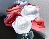 Paper Flowers Stemmed White Coral Centerpieces Wedding Flowers Home Decor Baby shower Decor faux With Stems Carnations