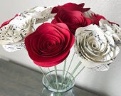 Paper Flowers Stemmed Music Sheet Red Roses Centerpieces Wedding Flowers Home Decor Baby shower Decor Faux With Stem