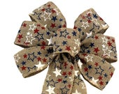 Patriotic Burlap Ribbon Wreath Bow 10 Wide, 18 Long Tails, Presidents Day, Red, White and Blue Stars, Veterans Day, 4th of July, USA