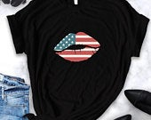 Funny 4th of july shirt, tank top, hoodie, kids onesie, fourth of july, USA flag cute lips