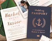 Nautical Cruise Passport Wedding Invitation Set in Rose Gold and Blush Watercolor by Luckyladypaper