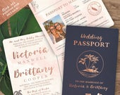 Tropical Destination Wedding Passport Invitation Set with Boarding Pass or Airmail RSVP in Rose Gold Watercolor see details to order