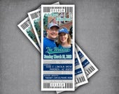 Baseball Wedding Magnet Save The Date Ticket / Seattle Sports Theme Boarding Pass Ticket Invite / Blue Green Mariners Invitation Template