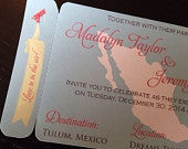 Mexico save the date, Boarding Pass Save the Date Magnet. Destination Wedding invitation.