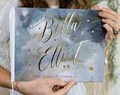 Celestial Wedding Guest Book, Real Gold Foil Horizontal Wedding Book with Calligraphy Names and Stars, Hardcover Instant Photo Guestbook