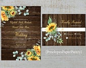 Rustic Sunflower Fall Wedding Invitations,Sunflowers,Eucalyptus,Barn Wood,Calligraphy,Gold Print,Shimmery,Printed Invitation,Wedding Set