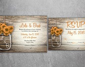 Mason Jar Wedding Invitation, Rustic Wedding Invitations, Sun Flowers, Country Wedding Invitations, Affordable, Barn Wood, Wedding Card