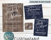 Rustic Navy Wedding Invitations, ANY COLOR, Rustic wood invite, navy wedding invitation, rustic navy invitation