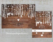 Rustic Winter Wedding Invitation,Winter Forest,Snowflakes,Deer,Heart,Barn Wood,Shimmery,Printed Invitation,Wedding Set