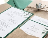 Rustic Leafy Wedding Invitation, simple wedding, wedding invitations, wedding invitation, eucalyptus, sage, forest, outdoor, wood, natural