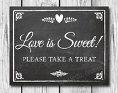 Chalkboard Wedding Sign, Rustic Wedding Decor, Printable Wedding Sign, Chalkboard Wedding Love Is Sweet Sign, Wedding Sign, Instant Download