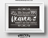 Heaven Sign, We Know You Would Be Here Today if Heaven Wasnt So Far Away, Wedding Tribute, PRINTABLE 5x7 Chalkboard Style Sign ID