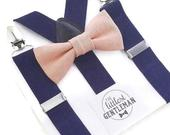 pink bow tie and navy suspenders set , dusty pink, mauve, rose quartz, wedding, ring bearer outfit, page boy, braces, dusty rose boys bowtie